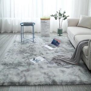 扎染印花地毯ins厂家批发渐变色丝毛PV绒客厅书房床边卧室地毯L