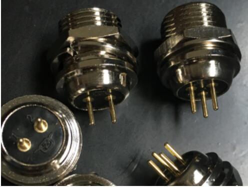 供应12M PCB板航空插座双头针穿墙式板后安装式F公插座2-7芯