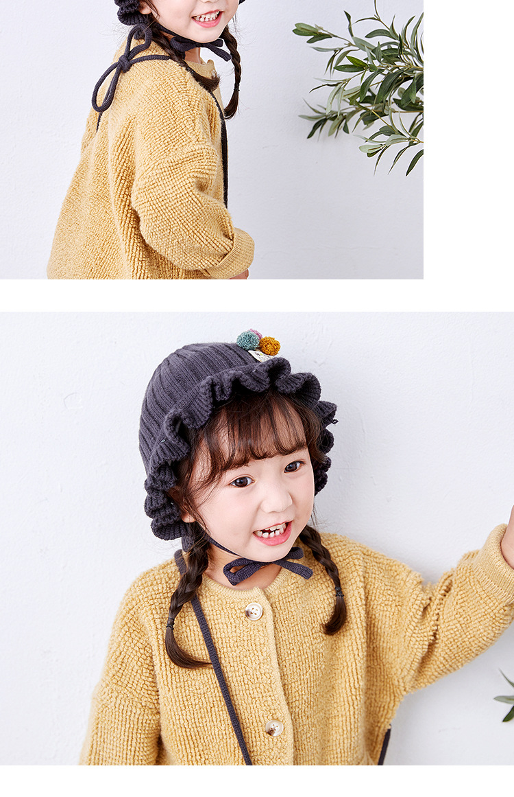 Korean children's hat bag set autumn and winter new girls ruffled color ball fisherman hat straps basin cap NHXO171647