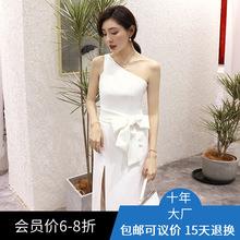 白色明星佟丽娅同款 2019新款宴会优雅年会派对小礼服连衣裙64706