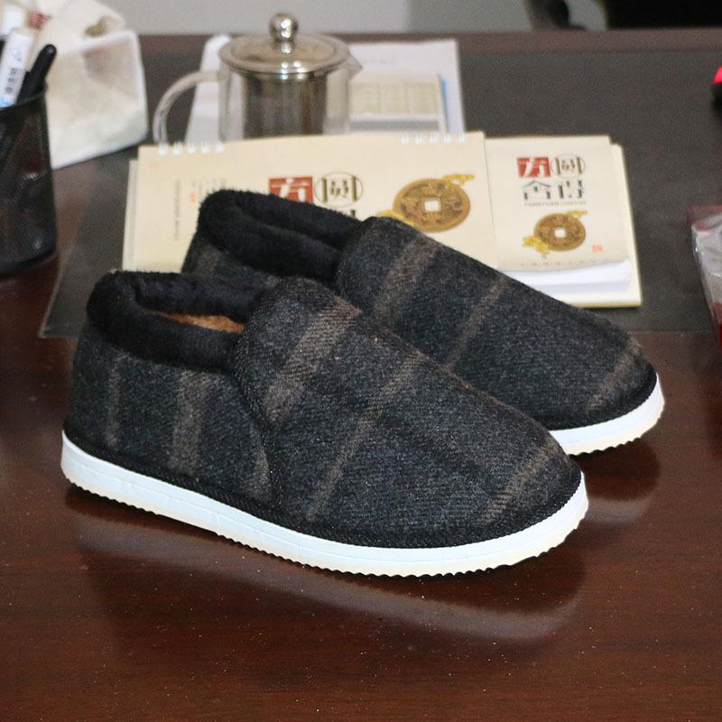 老马鞋厂自产自销全手工上线 星火牌防滑EVA鞋底 男高帮毛绒棉鞋