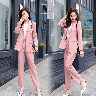 秋季西装套装女2019新款时尚韩版网红洋气显瘦两件套职业减龄裤装
