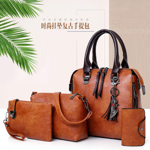 2021 new style European and American fashion trend single-shoulder messenger picture-mother bag four-piece retro hit color oil leather portable female bag