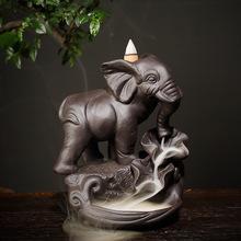 跨境新款紫砂大象观赏香薰炉 泰国神象烟倒流香炉工艺品家居摆件