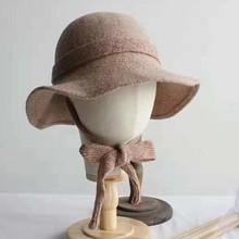 日本外貿原單女士秋冬羊毛盆帽漁夫帽加厚冬季毛呢保暖帽時裝帽子
