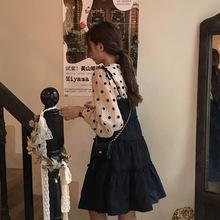 C8676 吊带蛋糕裙+长袖V领波点衬衫