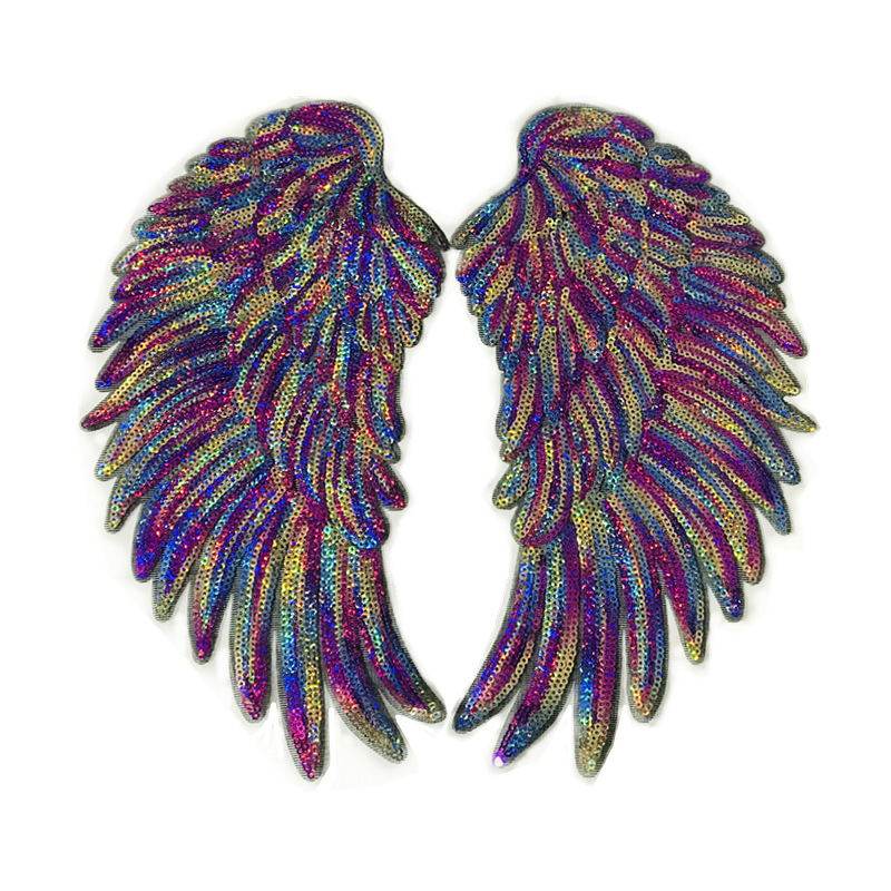 Colorful wings beads embroidery cloth stickers DIY clothing accessories sequin patch stickers decorative patch NHLT184825