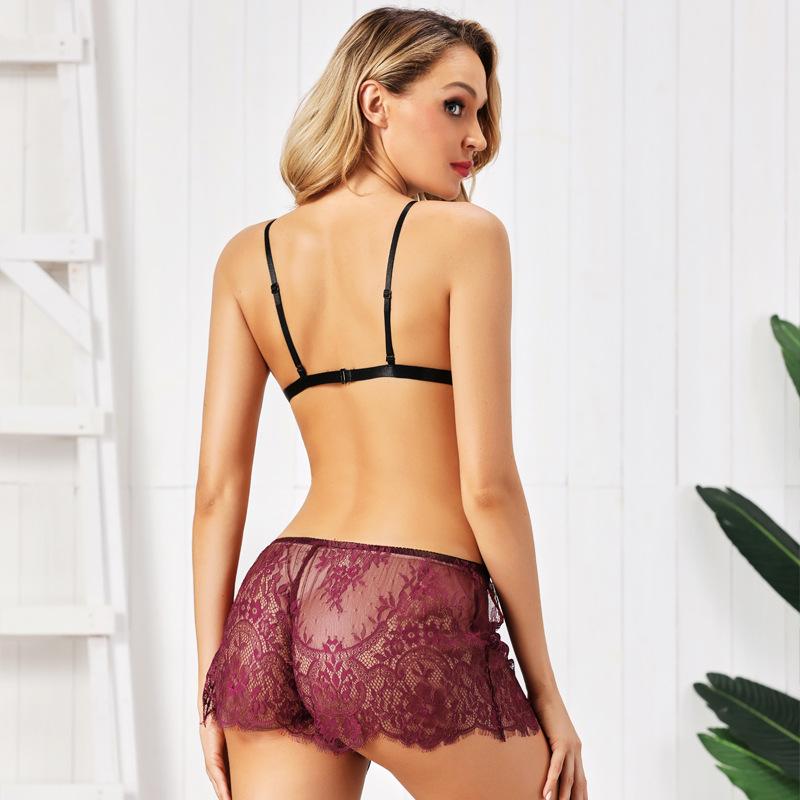 sexy purple lace temptation lingerie set  NSYO8703