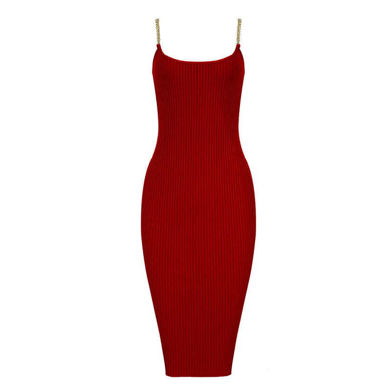 Bandage Dress 2019 Sexy Women Solid Color Chain Strap Fashion Casual Striped Thin Dress