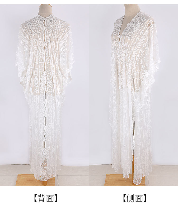 summer fashion  new mesh embroidered robe loose large size beach skirt vacation long skirt bikini blouse sun protection clothing  nihaojewelry wholesale NHXW217913