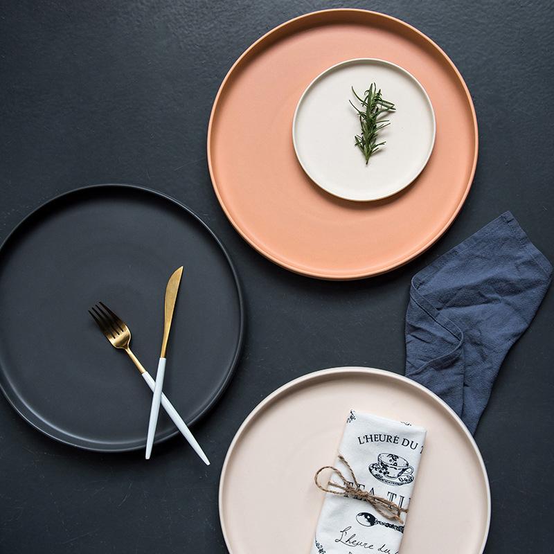 家用ins简约瓷盘欧式北欧陶日式西10英寸 牛排圆形 平盘圆盘大盘