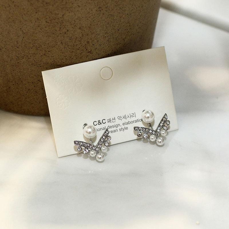 Aretes para mujer de perlas Pendientes de plata personalizados con forma de V geométrica S925 NHNZ185933