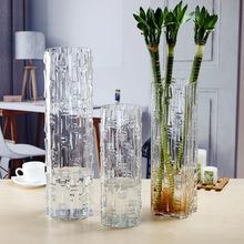 特大号?#36824;?#31481;花瓶玻璃透明插花家用竹节圆柱直筒大号产地货源批发