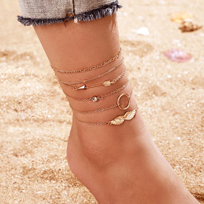 Amazon cross-border new jewelry fashion OL alloy diamond arrow wings bracelet bracelet set of 6 NHGY177493