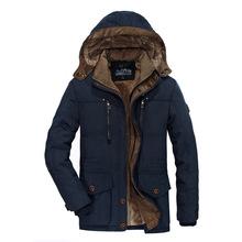 跨境13029冬季棉服男加絨加厚多袋中長款中老年棉衣大碼外單棉襖