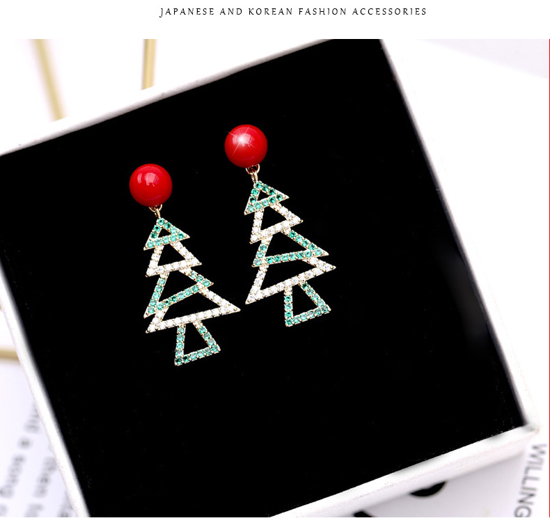 Christmas tree earrings pearl fashion earrings hundred fine silver earrings wholesale fashion jewelry NHDO181379