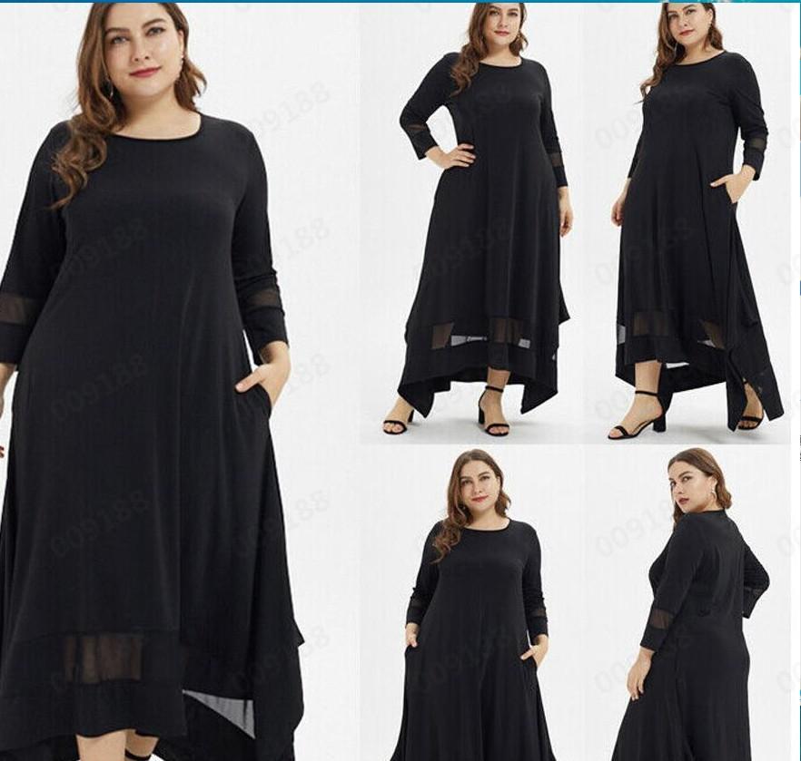 跨境外贸专供新款热卖大码女装七分袖网纱拼接开衩 穆斯林连衣裙