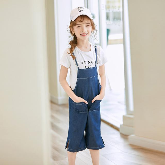 Bộ đồ liền thân cho bé gái Sibei set đồ hai mảnh mùa hè 2019 phiên bản Hàn Quốc của các cô gái denim đình chỉ áo thun ngắn tay cho bé trai Bộ đồ trẻ em