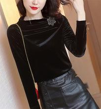 金絲絨上衣女2019秋季新款設計感小眾立領黑色打底衫修身長袖T恤