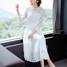 白色连衣裙2019新款秋装女?#31579;?#31471;过膝长裙气质显瘦收腰长款裙子潮