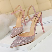 86-23 Korean fashion banquet with high heel, thin heel, shallow pointed hollow drill, sparkling diamond and sandals