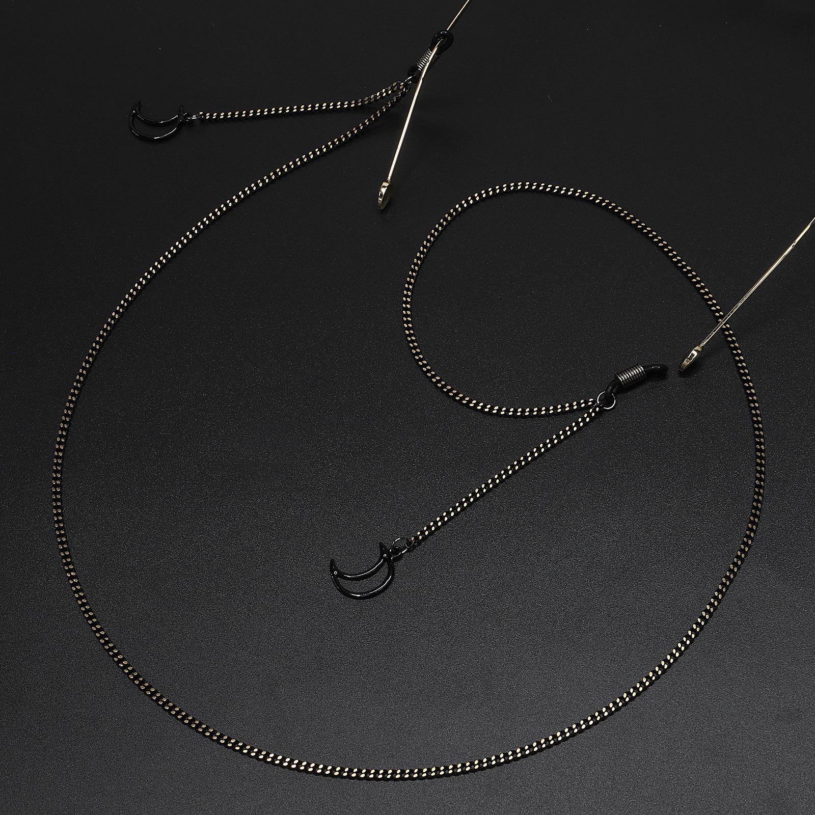 Fashion simple black moon pendant chain sunglasses with glasses chain NHBC135105