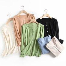自留款 六色入!簡潔百搭修身顯瘦 純色長袖單排扣針織開衫外套