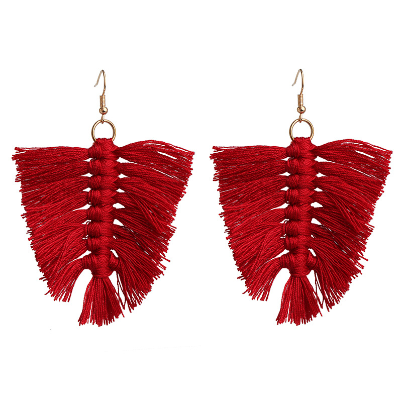 Geometric handmade tassel earrings retro square  NHJJ190091