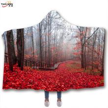 專注跨境 森林 星空 連帽毯3D數碼印花斗篷 加厚雙層毯子來圖定制