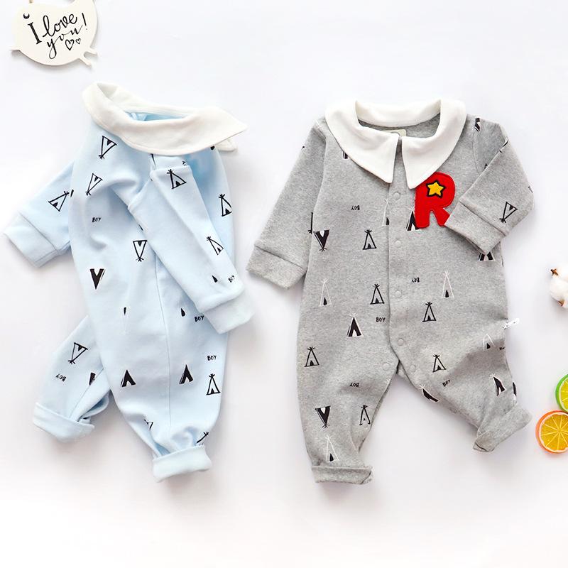 宝宝长袖图案舒适连体衣 棉质连体哈衣厂家批发 原始森林S1820508