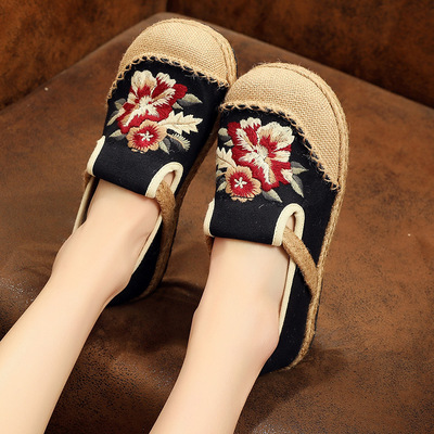 Black Embroidered Shoes ethnic Beijing shoes shallow mouth women's clothing shoes Thai linen shoes tai chi shoes for women