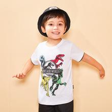 亞馬遜專供夏季新款童裝 印恐龍純棉短袖T恤 撞色男童寶寶半袖