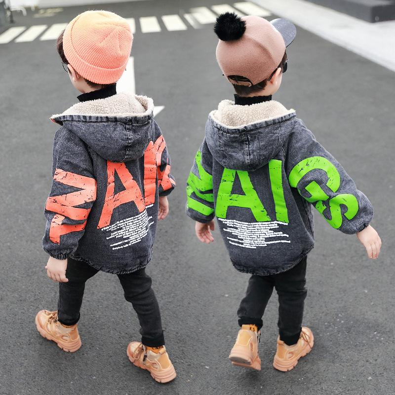 男童外套2019冬装新款韩版儿童牛仔羊羔绒夹克中小童帅气个性潮衣