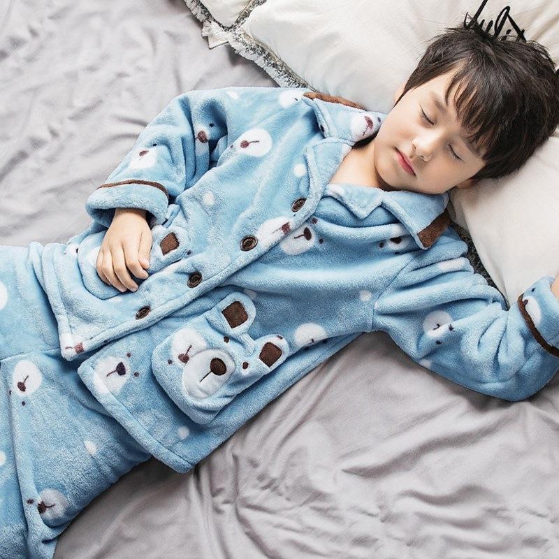 儿童睡衣男童法兰绒珊瑚绒中大童男孩12小孩15岁秋冬季家居服套装