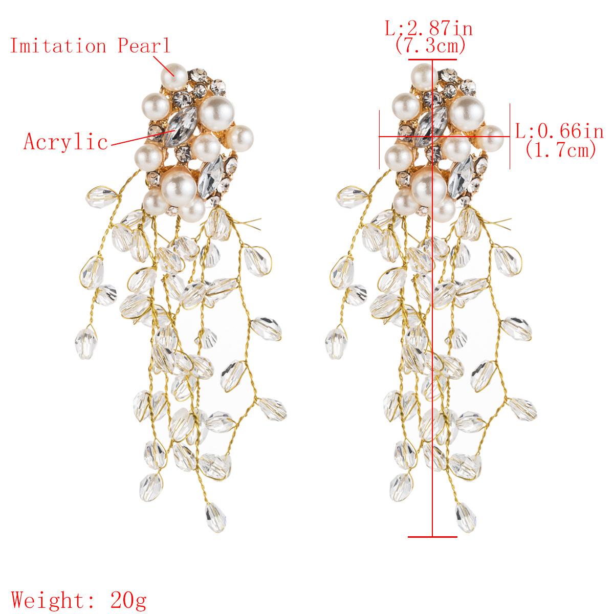 New rhinestone-studded beads flower earrings NHJE146859