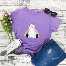 2019亚马逊wish ebay热卖爆款女装新独角兽圆领纯棉短袖上衣T恤