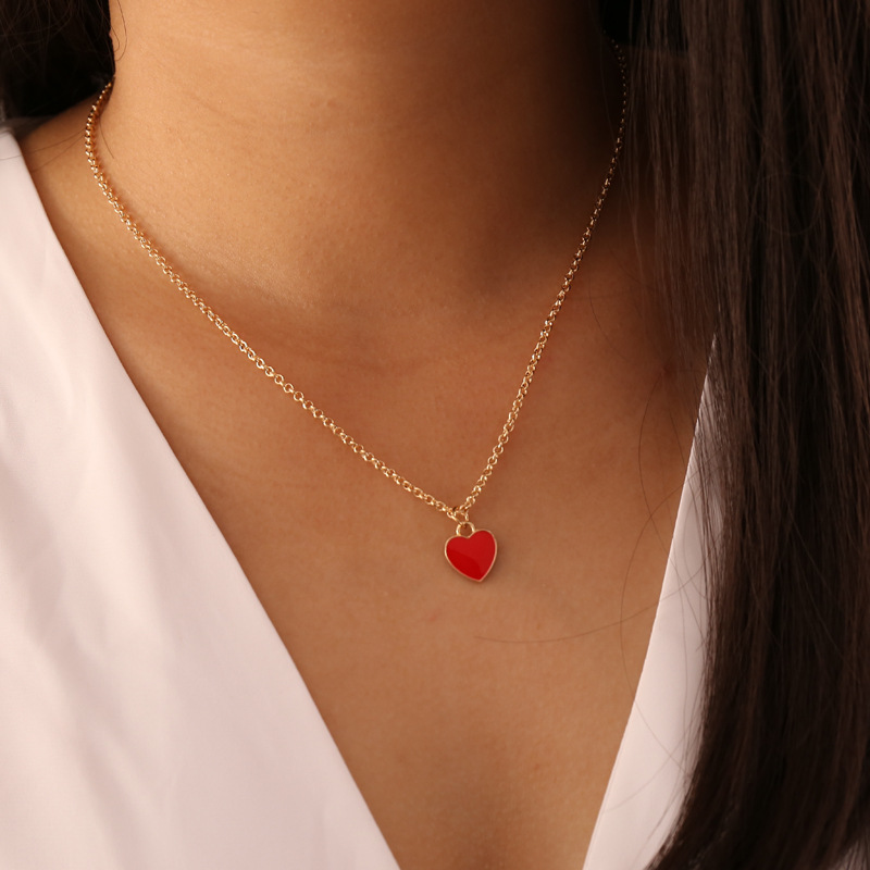 fashion love doublesided dripping oil necklace NHBW364424