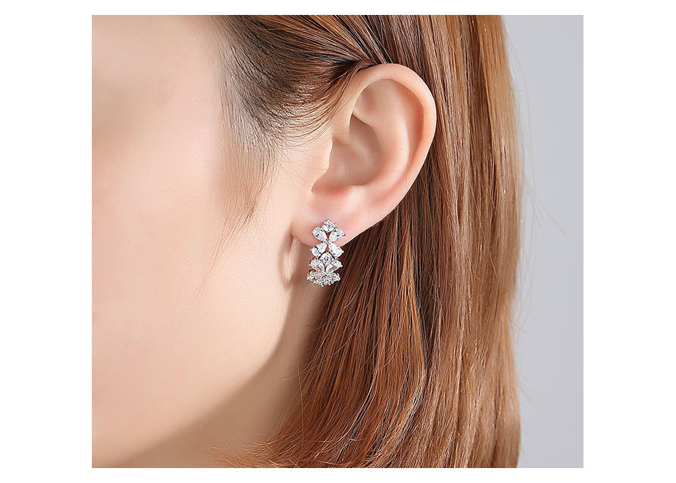 Alloy Korea Flowers earring  (Platinum-T02E13)  Fashion Jewelry NHTM0643-Platinum-T02E13