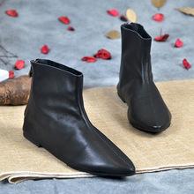 小短靴女2018新款百搭时尚女靴春秋尖头单靴真皮平跟休闲马丁靴子