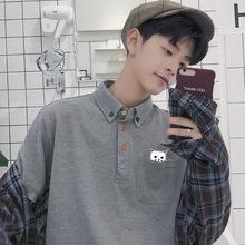 夏季港风POLO衬衫短袖T恤青少年男韩版潮流学生宽松bf新夏天衣服