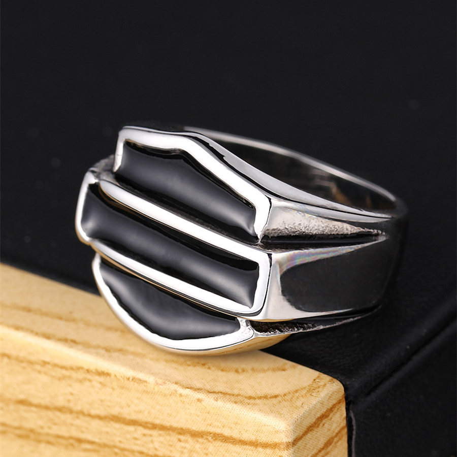 Titanium&Stainless Steel Fashion Geometric Ring(Steel color-8)Fine Jewelry NHIM1682-Steel-color-8