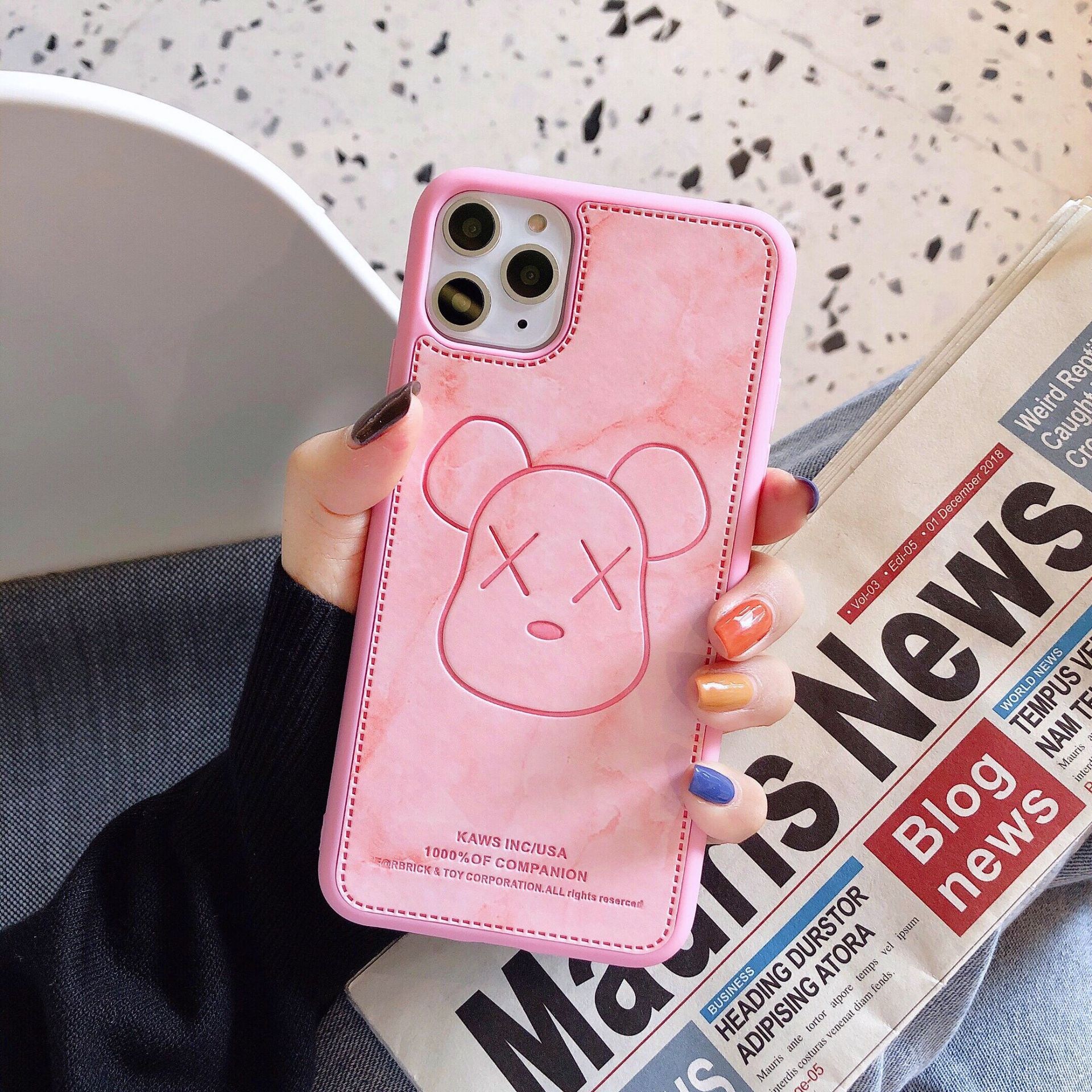 Cartoon Violent Bear iPhone XR Mobile Shell for Apple 11Pro max Couple 6s Imitation Leather Marble NHDV176330