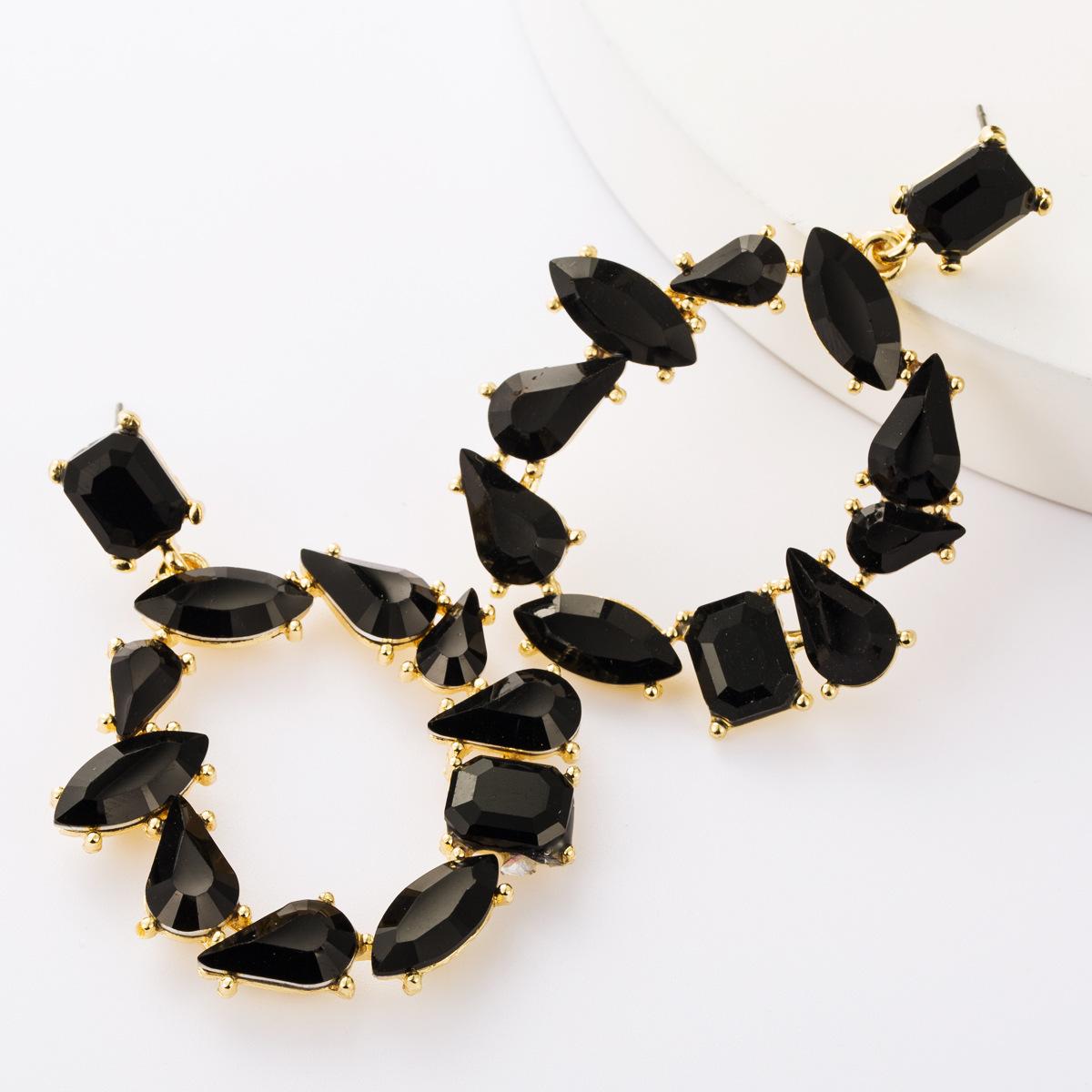 Alloy Diamond Glass Drill Irregular Round Full Diamond Earrings Female Diamond Earrings NHJE177428