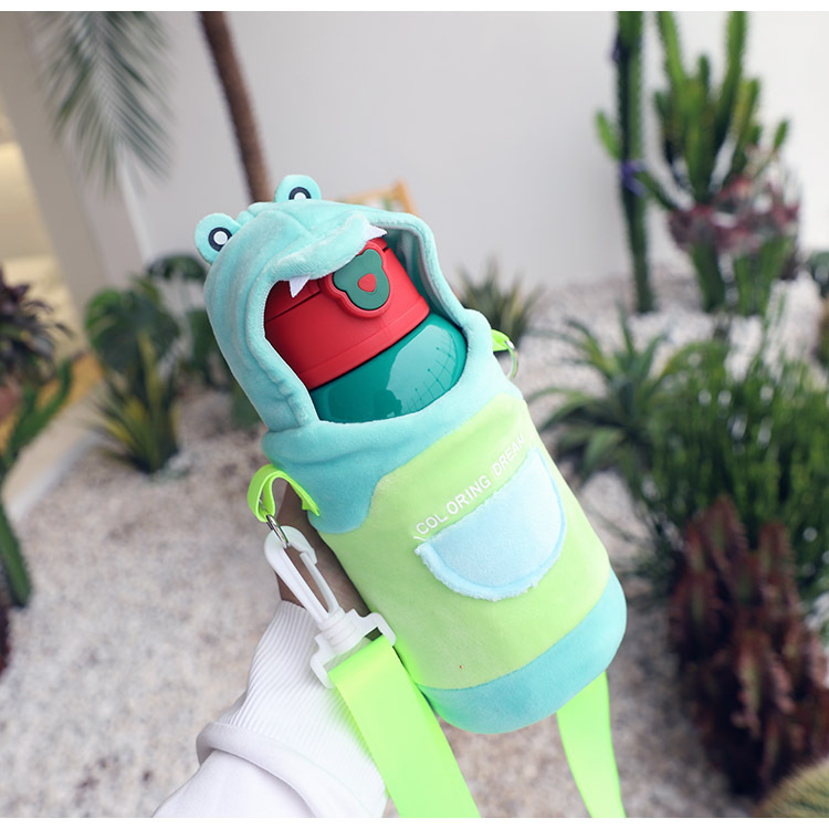 Creative 316 stainless steel insulated cup cute student children's kettle with straw baby water cup NHtn205387