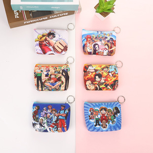 One Piece Cartoon Anime Wallet Male and Female Student Storage Bag Small Wallet PU Leather Fashion Printed Coin Purse