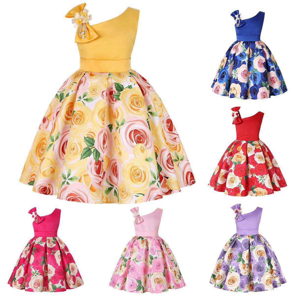 Oblique Shoulder Children's Dress Rose Print Dress