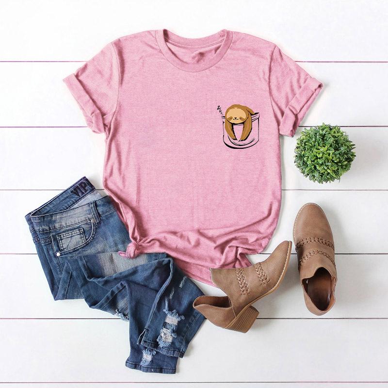 New Fun Cute Pocket Sloth Plus Size Cotton Short Sleeve Women's T-Shirt NHSN206408