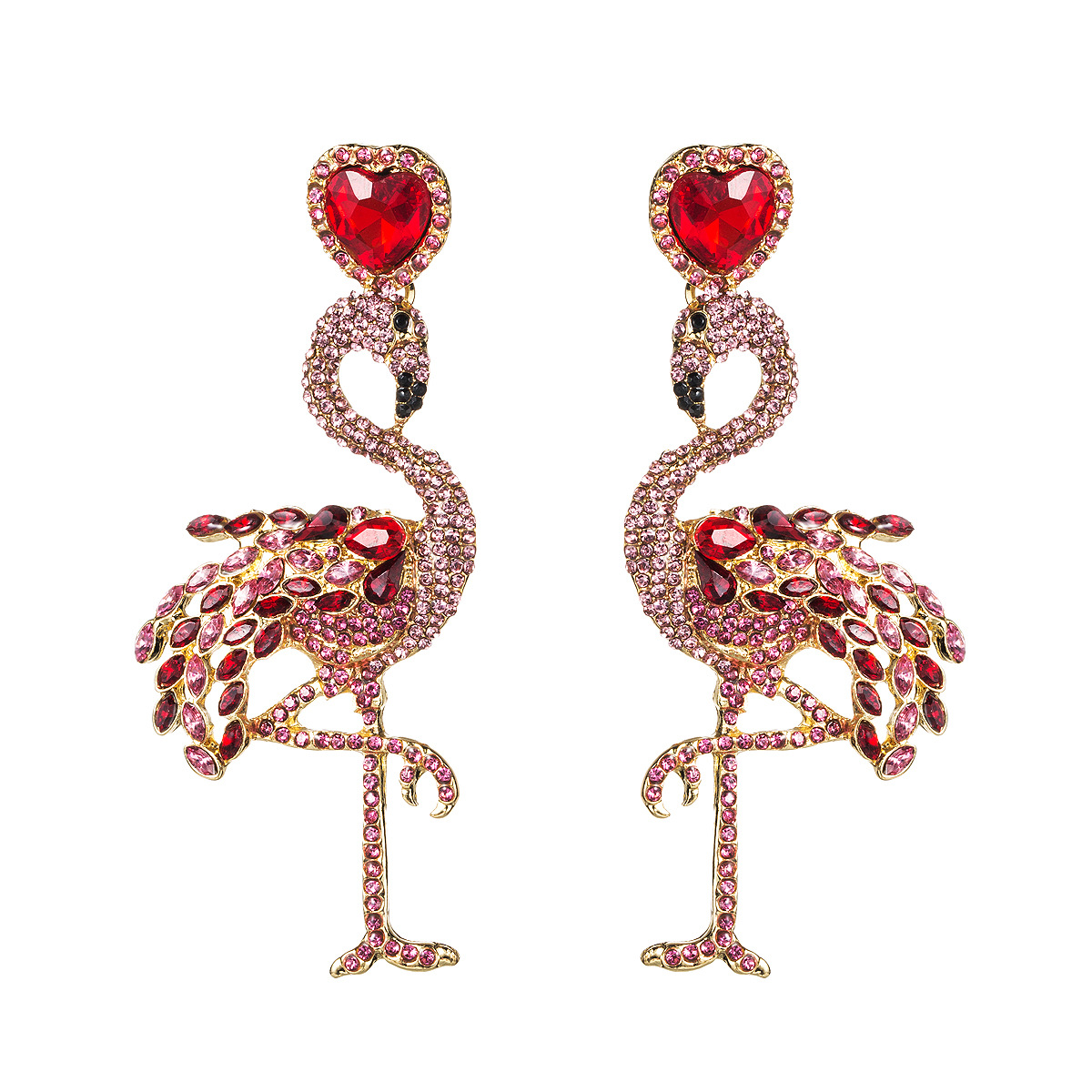 Stylish new rhinestone-studded flamingo earrings NHJE147191