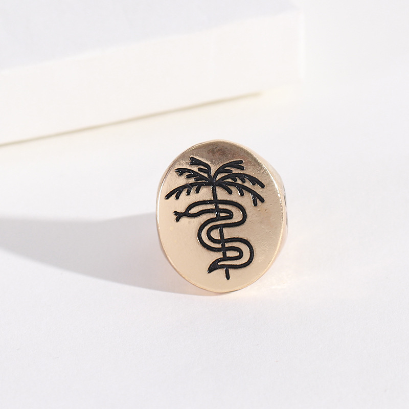 Womens  Palm Coconut Tree Alloy Rings NHNZ122153