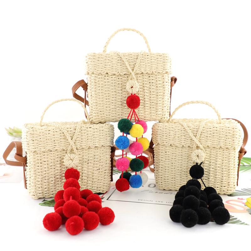 一件代發新款純手工編織球球包小方包單肩斜跨毛球串草編包手提包